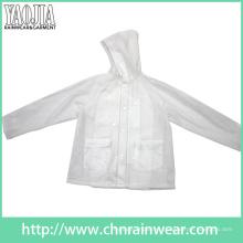 Yj-1057 claro PVC transparente mulheres leve jaqueta de chuva Ladies Rainwear