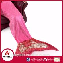 Nova Design Super Macio Lantejoulas cauda Sereia Cauda Cobertor com presente