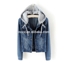 14LJ1075 Women hoodies wholesale denim jackets