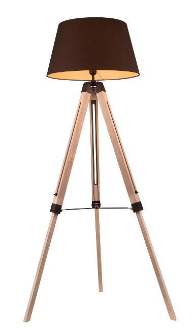 Adjustable Wooden Tripod Floor Lamp