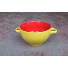 Custom 5.5inch Stoneware Two Tone Glazed Promotional Salad Bowl with Handles (WSY676M)