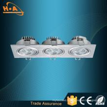 Vente chaude produits 9W trois têtes Embedded LED lampe de plafond