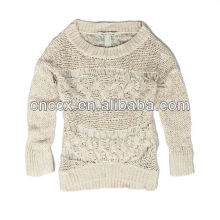 13STC5266 open knitted women crewneck sweaters knitting models