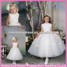 HF2030 Jóia de jóias de estilo novo fora das flores artesanais brancas na parte superior e faixa de arco da saia vestido de vestido de bola de tul vestido flor-menina-vestido