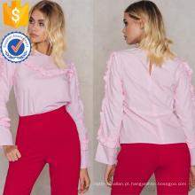Algodão rosa bonito babados manga longa verão blusa manufatura atacado moda feminina vestuário (ta0051b)