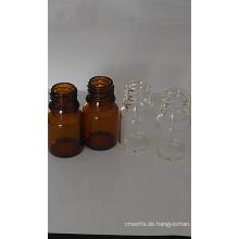 5ml Glasfläschchen röhrenförmigen Amber Mini für kosmetische Verpackung
