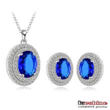 Azul strass casamento conjuntos de jóias nupcial (cst0028-b)