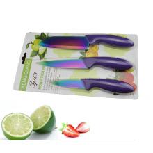 3PCS Красочные пластиковые ручки кухонный нож Установить (SE-3542)