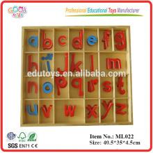 Materiales del lenguaje de Montessori Pequeño alfabeto móvil de madera educativo, juguetes de madera