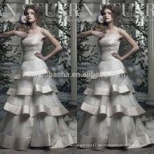 China Suzhou-Hochzeits-Kleid 2014 Neues Ankunfts-trägerloses langes A-Linie Organza-Brautkleid mit überlagertem Rock-Satin-Rand NB0765