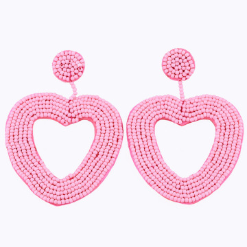 Statement Beaded Heart Hoop Earrings Fashion Bohemian Handmade Woven Glass Seed Whimsical Drop Earring Stud Jewelry Idear Gifts