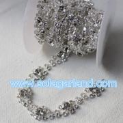 5Yard/Roll Crystal Silver Plated Rhinestone Chain Trims