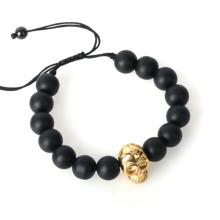 Neue Mode Natursteine Schädel Lava Stein Perlen-Armband