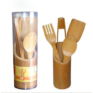 Eco-friendly bamboo Spoon utensil set in canister