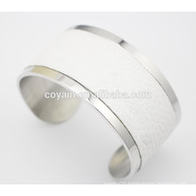 Unique big opening wide white leather cuff bangle for women