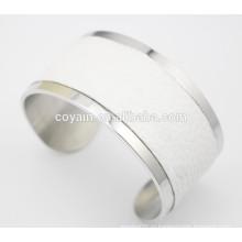 Уникальный большой широкий широкий белый кожаный браслет манжеты для женщин
