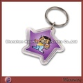 Fancy transparent pentagon-shaped polished promotion acrylic/plexiglass keychain/key ring/key holder