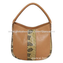 Hottest fashion bags, made of snake skin center panel PU leather vintage hobo