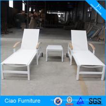 Mains courantes extérieures de teck de meubles et chaise longue de roue