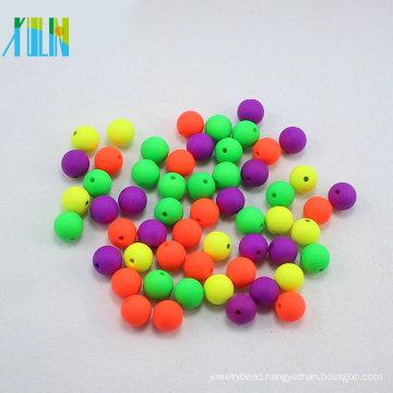 DIY random mixing color acrylic neon rubber loose round beads