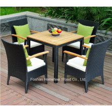 5 Pieces Durable Garden Rattan Table Set with Cushions