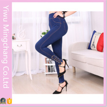 Hot Sale High Waist Women Plus Size Slimming Jeggings with Zipper and Diamond