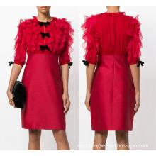Red Flower Stitching Short Dress
