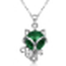 Women′s 925 Sterling Silver Green Agate Fox Pendant Necklace with Chain