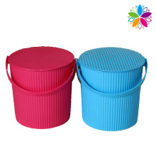 Wave Design Plastic Storage Bucket with Handle (SLT004)