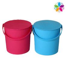 Diseño de onda cubo de almacenamiento de plástico con la manija (SLT004)