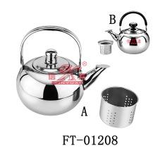 Aço inoxidável redonda assobiando bule (FT-01208)