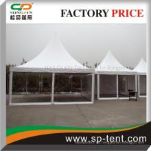 3X3m, 4x4m, 5x5m Kleine Aluminium Pergola Pavillon Transparente Wände und weißes Dach
