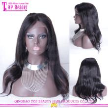 Venda direta da fábrica longo preto virgem reta peruano peruca de cabelo humano barato peruca dianteira do laço com o cabelo do bebê