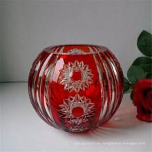 jarrón de vidrio grabado para decoración