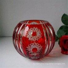 engraved glass vase for decoration