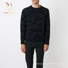 Chandail de pull noir imprimé personnalisé tricoté pour les hommes