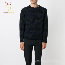 Knitted Custom Print Black Pullover Sweater For Men