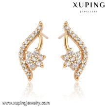 92466 Xuping fancy wholesale 18k gold plated white stone stud earrings