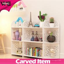Carve Patterns Petite étagère de rangement blanche en plastique et en bois
