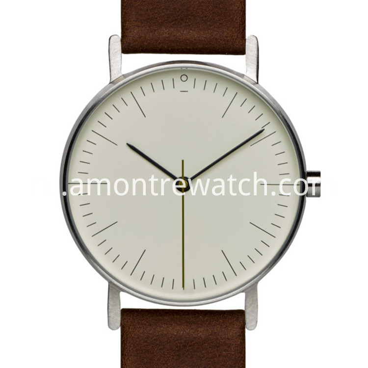 quartz watch with white dial