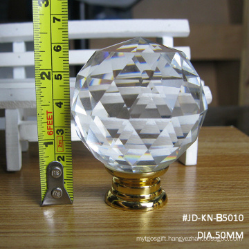 Large 50mm Clear White K9 Crystal Door Handle in Gold Hardware Without Lock