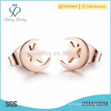 Pendientes de perlas de Luna y estrella, aretes de perno prisionero para novia