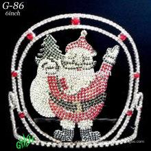 Nuevos diseños rhinestone real accesorios coronas al por mayor y tiaras de Santa Claus