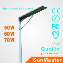 Lámpara de calle solar todo en uno de 70W