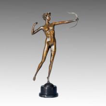 Спортивная статуя Арчер Леди Бронзовая скульптура, Мило ТПЭ-124