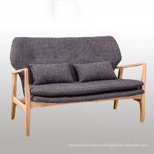 Living Room Wood Frame Fabric Sofa with Solid Wood Legs