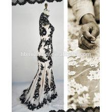 Musselin sexy lückenlos Spitze schwarz Hochzeitskleid
