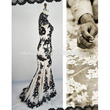 Vestido de boda negro sin tirantes de encaje sexy de muselina
