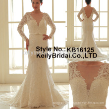 Latest Attractive long sleeve lace sheath style wedding dress