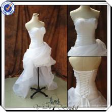 JJ2988 sweetheart Sexy high-low curto frente longo vestido de casamento vestido de organza